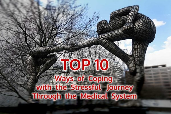 Photo: sculpture of two people reaching for each other illustrating Top 10 ways of coping with the stressful journey through the medical system