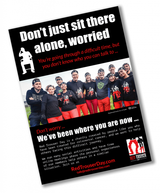 Join the Red trouser day community poster as shown in hospital waiting rooms